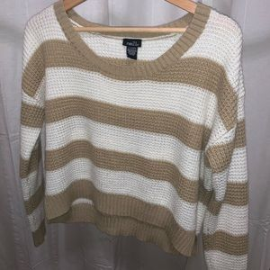 Tan & White Striped Crop Sweater